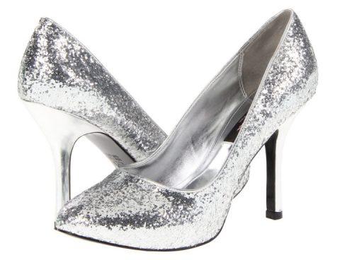 silver glitter pumps