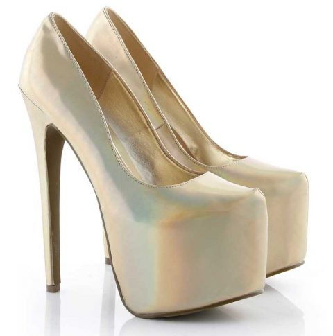 gold platform shoes