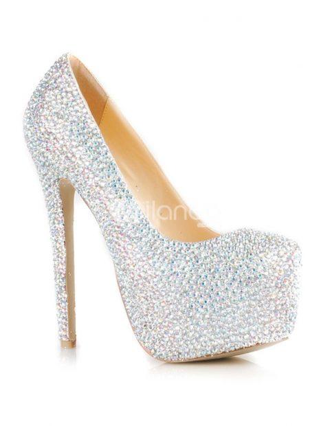 glitter rhinestone high heels