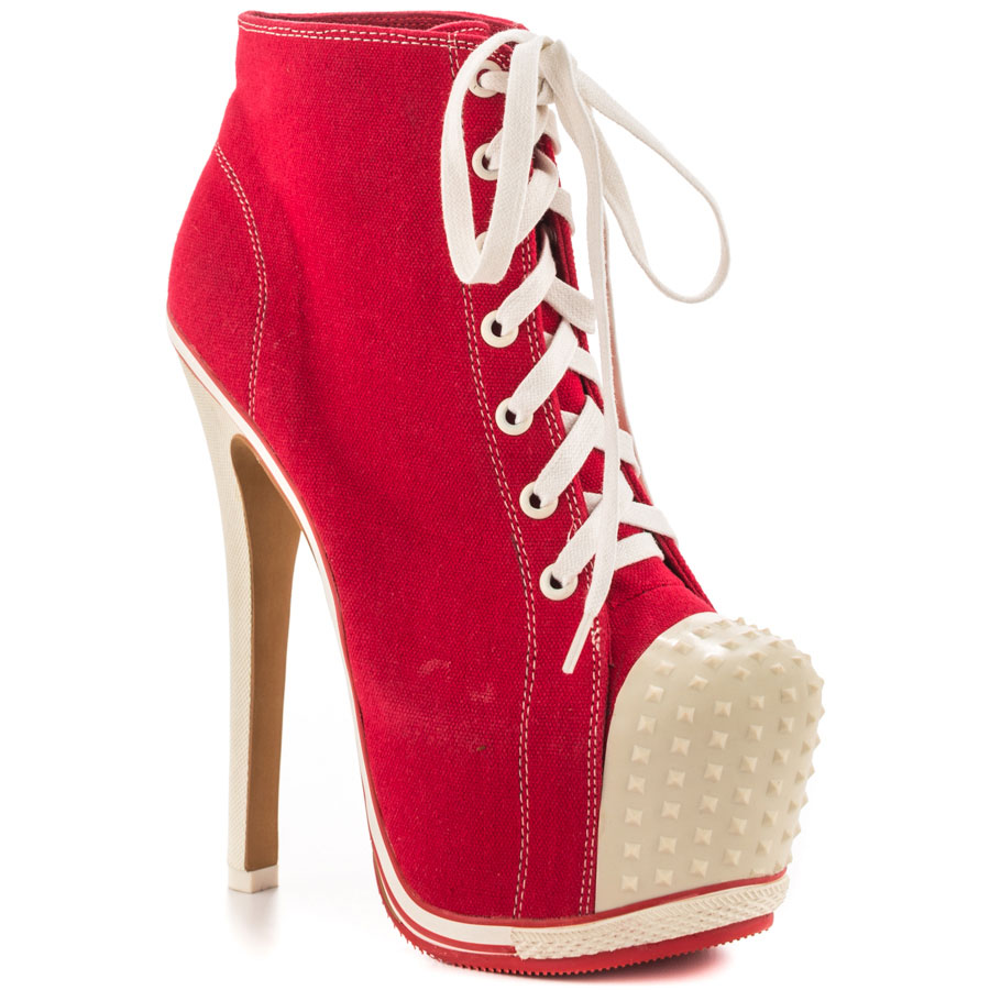 red sneaker high heels