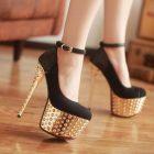 Black platform high heels