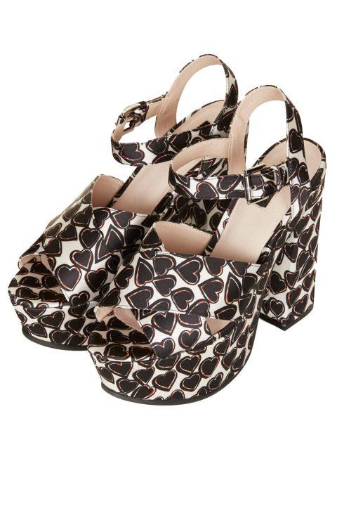 heart print platform heels