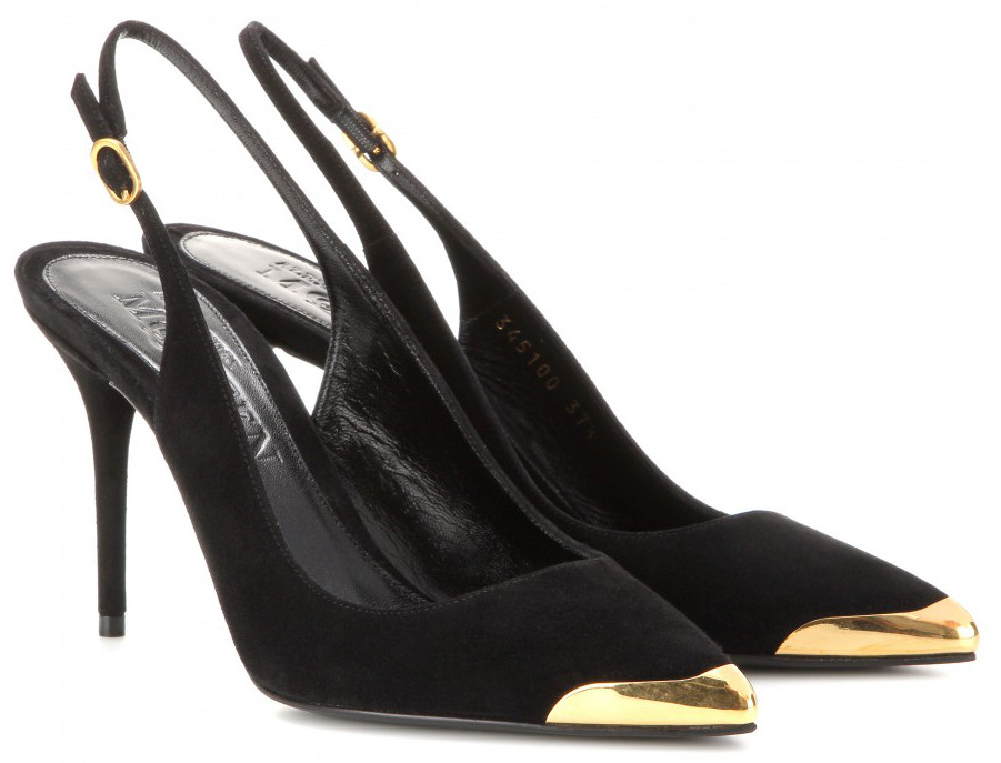 Alexander McQueen's black suede gold metal tip sling backs