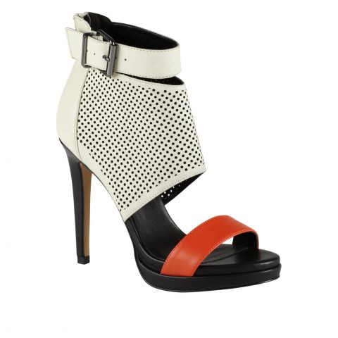 White Black Orange High Heels