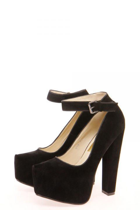 Black high heel platforms
