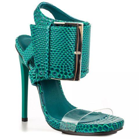 oversized buckle heels