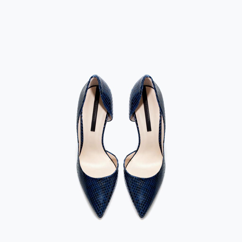 58ea46699df Animal Print Pumps Blue Snakeskin High Heel Pumps Zara ...