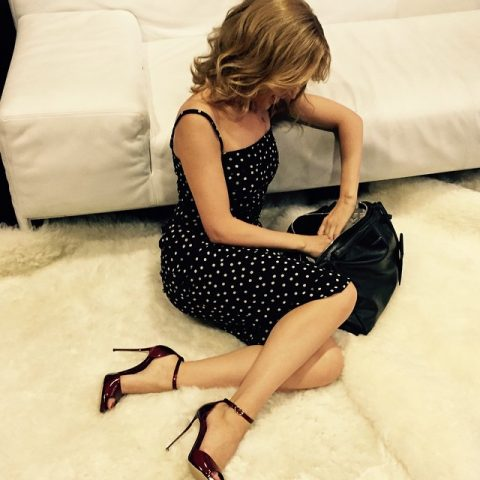 Kylie Minogue ankle strap high heels