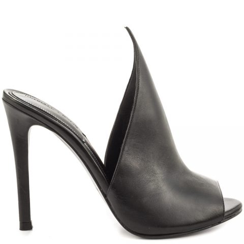 Black leather high heel mules