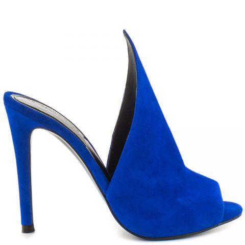 Blue suede high heel mules